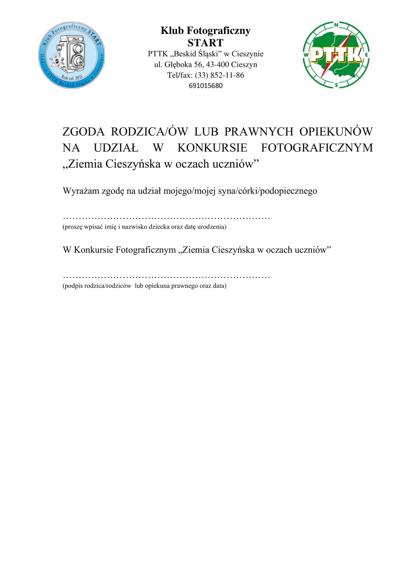 Załącznik nr 2 – Zgoda Rodziców Ziemia Cieszyńska w oczach uczniów-1