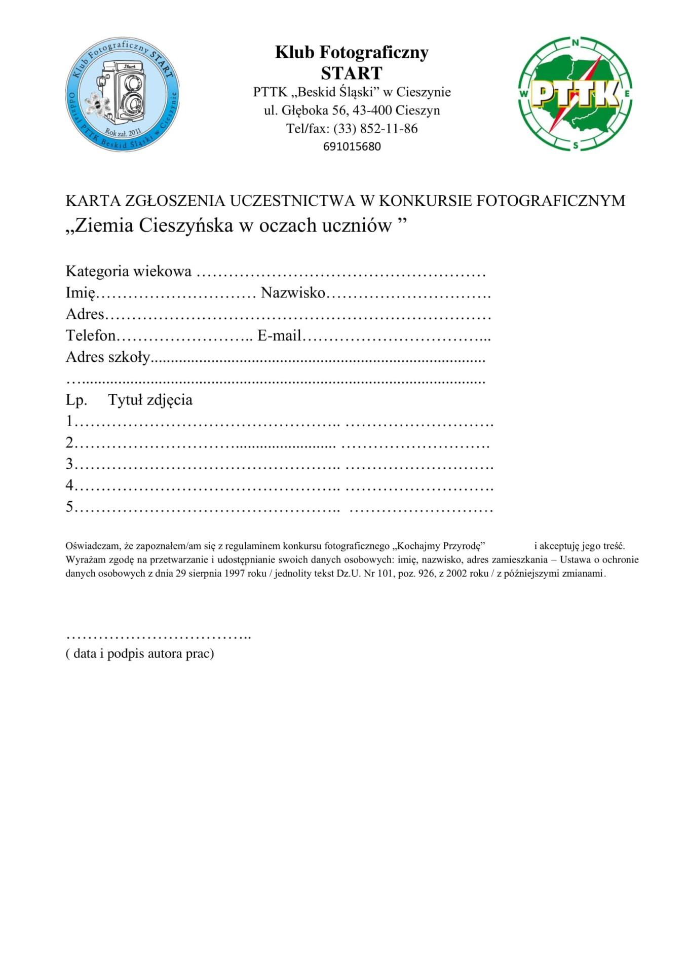 Załącznik nr. 1 – Karta zgłoszenia Ziemia Cieszyńska w oczach uczniów-1